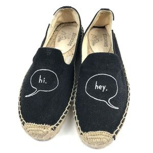 "SOLUDOS BLACK GRAPHIC ""HI"" ""HEY"" ESPADRILLE SHOES"